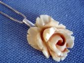 Antique Carved Bone Rose Pendant (Large Size) on New Silver Chain (SOLD)